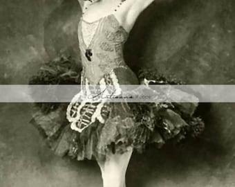Printable Art Instant Download - Feathers Ballerina Ballet Bird Dancer Antique Vintage Photograph - Paper Crafts Scrapbooking Altered Art