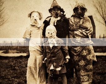 Trick or Treat Creepy Scary Halloween Costumes Antique Photograph - Instant Art Printable Download - Altered Art Scrapbook Paper Crafts