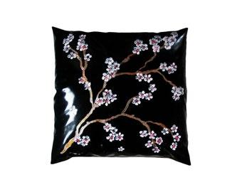 Latex rubber ~ hand painted ~cushion cover ~ pillow cover - Black ~ Japanese Blossom ~ liquid latex ~,sensual,fetish (100% rubber) - Boudoir