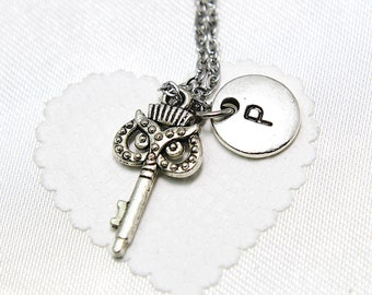 Key Necklace, Key Pendant Necklace, Key Silver, Personalized, Initial Necklace, Initial Charm,  Monogram