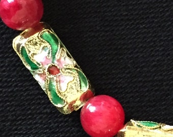 7 1/2 inch Stretch bracelet - Cloisonee style