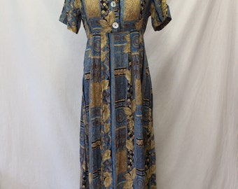 1990's Multi-color abstract pattern short sleeve collared Mid-Calf length dress/Size Small/Rayon/Sundress/Casual/Career/Semi-Buttondown/Tie