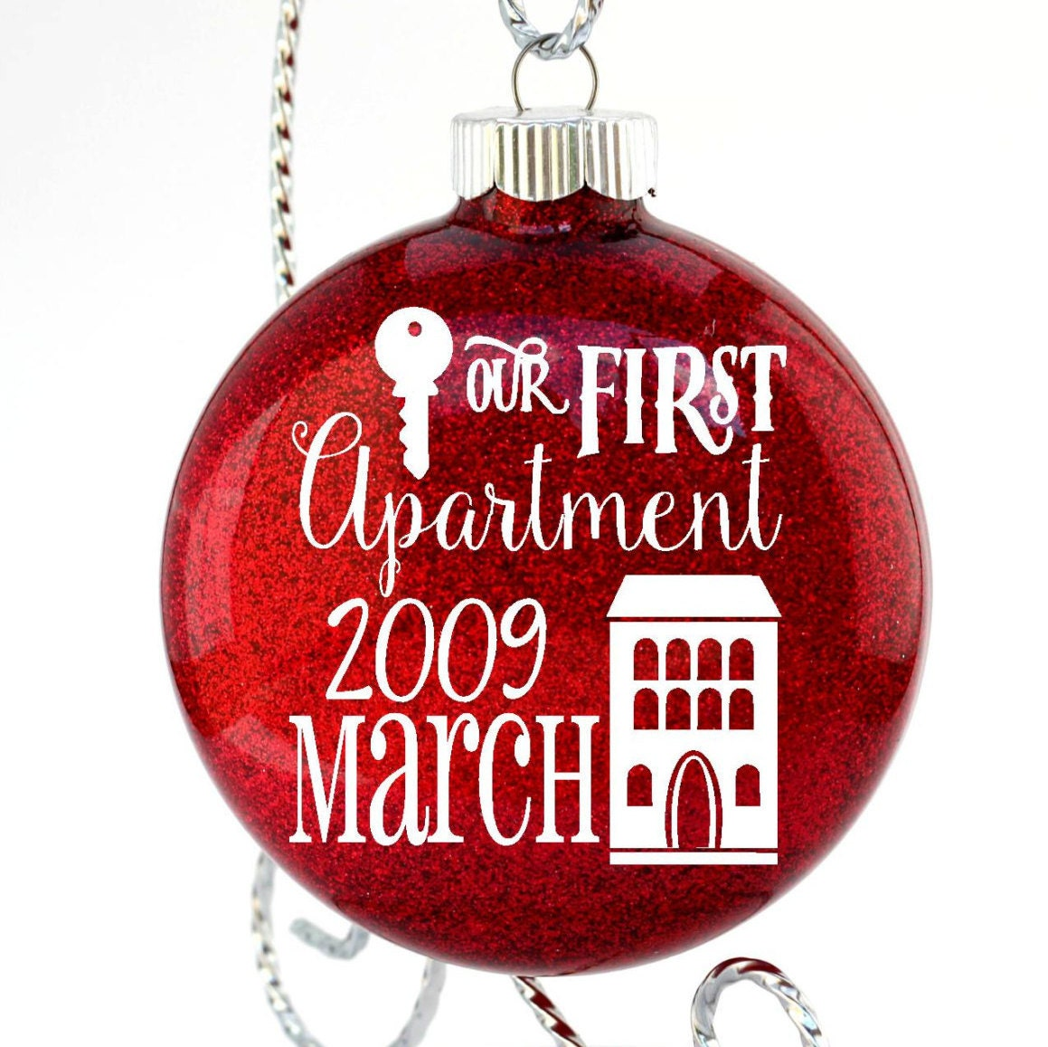 christmas ornament first apartment gift glass christmas