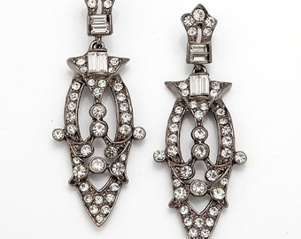 Gunmetal Art Deco Chandelier Earring
