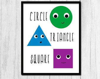 Classroom Decor Shapes Poster Digital Download Learn Shape Poster Classroom Printable Triangle Circle Square Poster Classroom Printable Art