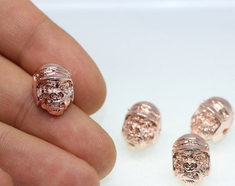 1/5/25 Pcs Rose Gold Plated Planet of the Apes Beads, 15mm x 11mm Ape Skull Beads, Ape with Helmet Charm CBR
