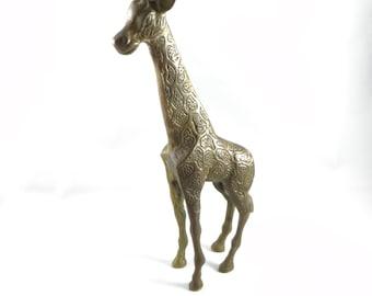 Brass Giraffe, Brass Giraffe Figurine, Brass Giraffe Animal Statue, Vintage Solid Brass Giraffe, Brass Animals Giraffe, Nature Safari