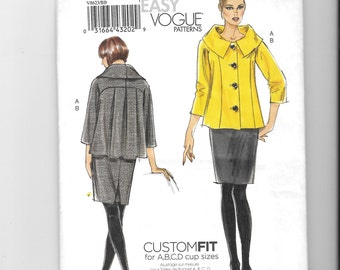 Vogue Patterns V8623, Very Easy Patterns, Misses' Jacket and Skirt Pattern, Size 8-10-12-14, Womens Pattern, Uncut, Sewing Pattern