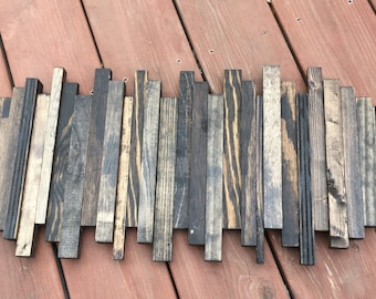 Reclaimed Wood Wall Art. Reclaimed Staggered Wood Wall Art. Wood Wall Art. Home Decor
