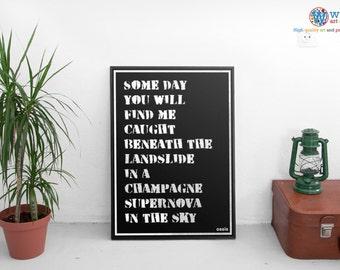 Oasis Poster - Champagne Supernova - print / art - Song Lyric Typography