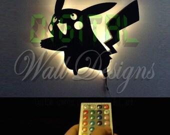 Remote Controlled Pikachu Pokemon LED Backlit Wall Art kids children night light