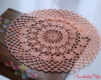 Peach doily, Crochet doily, Round crochet doily, Handmade doily, Crochet doily, crochet lace doily, Crochet table decoration, Crochet item