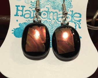 Handmade Dichroic black/dark gold metallic glass dangle earrings