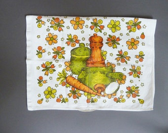 Tea towel, towels for the kitchen, vintage, flowers, pots, and vegetables, kitchen towel