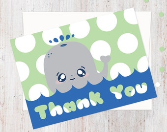 Whale Polka Dot Thank You Cards | Matching Set for Birthday Party Invitations | Printed Set | 100% Recycled