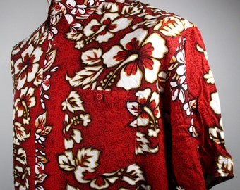 """80s Vintage Mens Red Hawaiian Shirt LARGE 44"""" Chest (42-44) Retro Floral Print ---Quality Vintage Menswear---"""