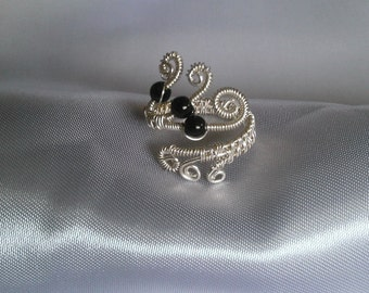 sterling silver ring , wire wrapped ring , black onyx ring, handmade jewelry