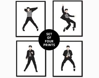 Elvis Art Print, Elvis Prints, Set of Four, Jailhouse Rock, Elvis Portrait Art, Minimalist Portrait, Elvis Presley Art