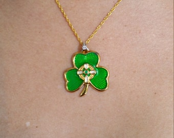 Irish Shamrock Enamel Pendant with Sterling Silver gold plated Chain Necklace