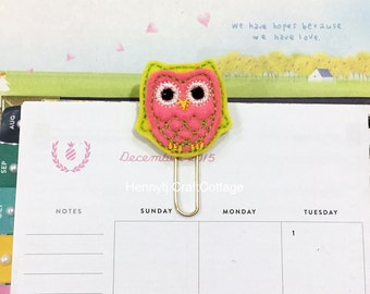 Planner Clip. Felt Yellow Pink OWL  -  Paper Clip | Page Clip | Bookmark | Page Marker . Planner accessories supply.