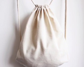 37cm X 43 cm Handmade Canvas Backpack TOTE Bags,  cotton drawstring - Blank