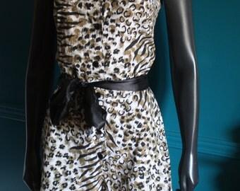 Printed jumpsuit leopard vintage 80 s