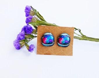 Space scaphander studs / Galaxy studs / Galaxy earrings / Space earrings / Nebula studs / Galaxy jewelry / Galaxy gift idea / Galaxy lover