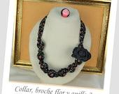 Conjunto de collar, broche y anillo de tela.