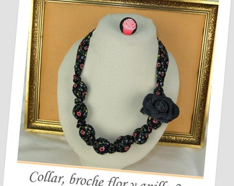 Cotton necklace with light plastic beads inside.