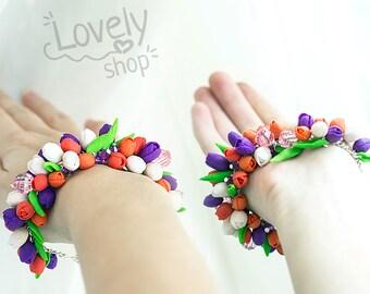 SALE / FLOWER BRACELET / Polymer clay jewelry / Floral jewelry / flower polymer clay / Polymer clay bracelet / cute bracelet