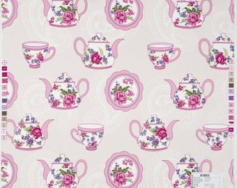 Kitchen Curtain Shabby Chic Kitchen Curtain Kitchen Valance  Floral Curtain Retro Curtain Custom Order Curtain Pink Curtain Teapot Curtain