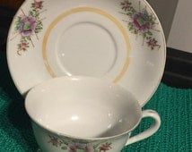 1945 - 1952 Nasco Primrose Fine Bone China Cup and Saucer - Made in Occupied Japan (X2)
