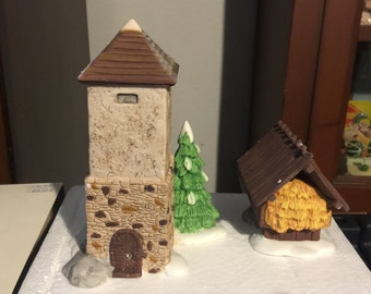 Dept 56 Heritage Village -  Silo and Hay Shed - Village Accessory