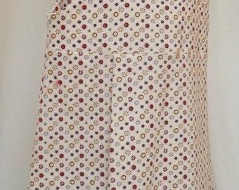 girls sleeveless pinafore dress cream and red modern velour pattern age 4