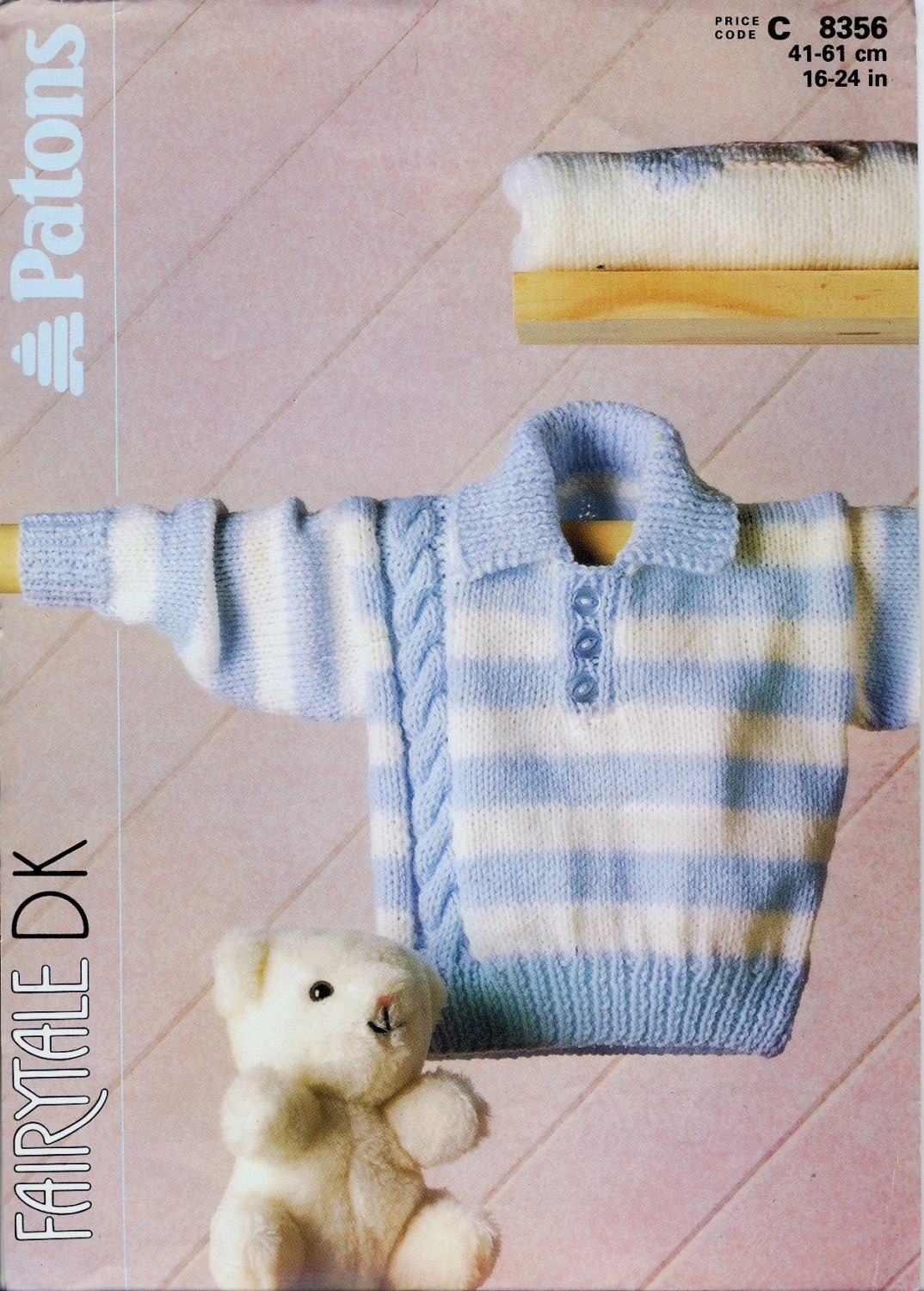 Mens Slouch Hat Knitting Pattern : Patons 8356 Knitting Pattern Babys Striped Sweater With