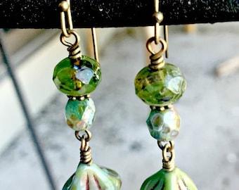 Green Czech Glass Earrings, Earthy Earrings, Czech Glass Dangle Earrings, Nature Inspired Jewelry, Czech Glass Jewelry