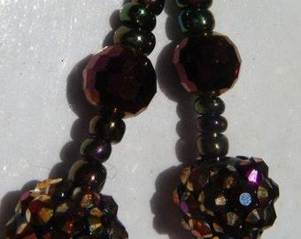 pretty shiny black/bronze disco ball dangly earrings