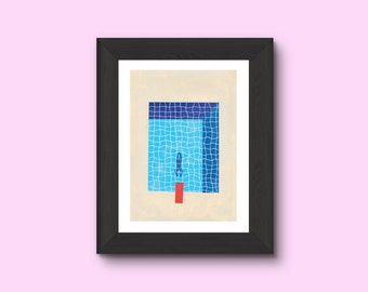"Print / Illustration - ""the pool"" - A4"