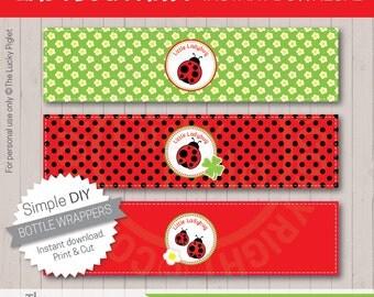 LADYBUG BOTTLE LABELS, Ladybug Bottle Wrappers, Ladybug Party Printables - Instant Download
