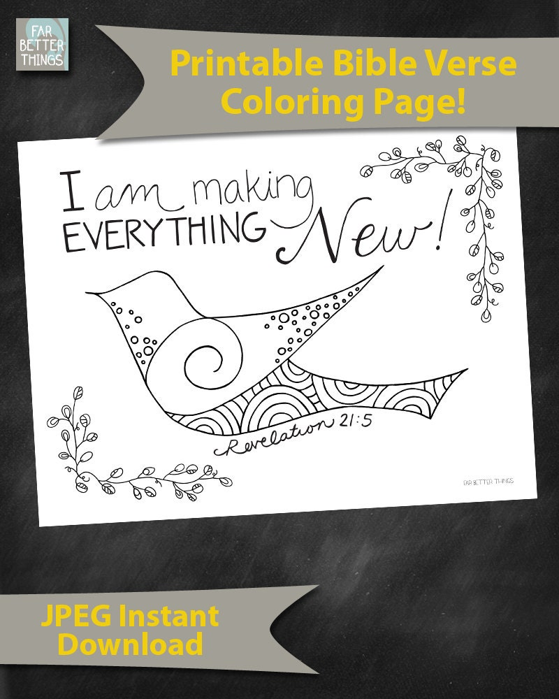 Bible Verse Coloring Page Revelation 21 5 Everything New