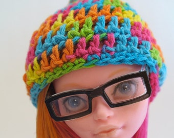 Pompom hat for monster high doll, ever after high - Rainbow