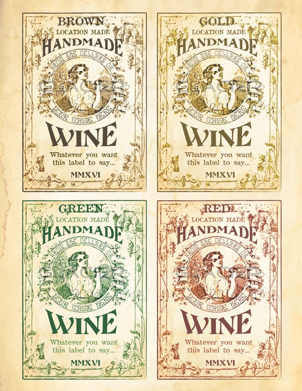 Customized Homemade Wine Bottle Labels Wine Labels Digital
