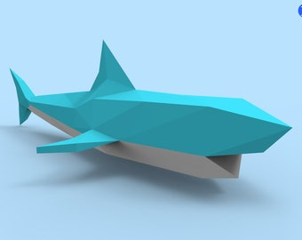 sharks  shark 2 papercraft pdf pack 3d paper sculpture template instructions diy wall decoration