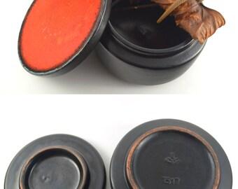 Ceramic Trinket Box, Lidded Box, Ceramic Bomboniere, Mid Century Pottery with Lid, German Majolika Pottery Box, Glazed Pottery Jewelry Box