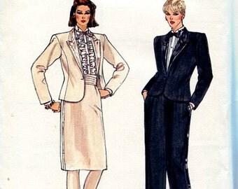FREE US SHIPVogue 8493 Vintage Retro 1980s 80s Tuxedo Pantsuit Suit Jacket Skirt Pants Size 6 8 10 Bust 30 31 32 Sewing Pattern