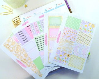 Blissful  // Decorative and Functional Weekly Planner Sticker Kit   5 Sheet Weekly Sticker Kit for use with ERIN CONDREN LIFEPLANNER™