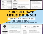 Resume Template Bundle, CV Bundle, 5 Resume Designs in 1: 20 Pages, Cover Letter, Professional, Modern, Creative | Instant Download