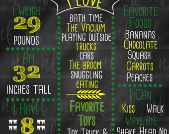 Green and Yellow Tractor Themed Chalkboard Poster