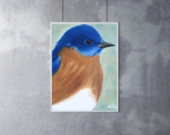 Bluebird Painting, 8 x 10, Oil Painting, Original Art, Bird Painting, Blue Bird Painting, Wildlife painting, Bird Wall Art, Nature Painting