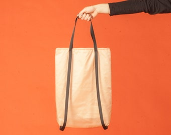 Minimal light backpack tote bag rucksack in orange beige peach nylon design plain simple handmade functional modern